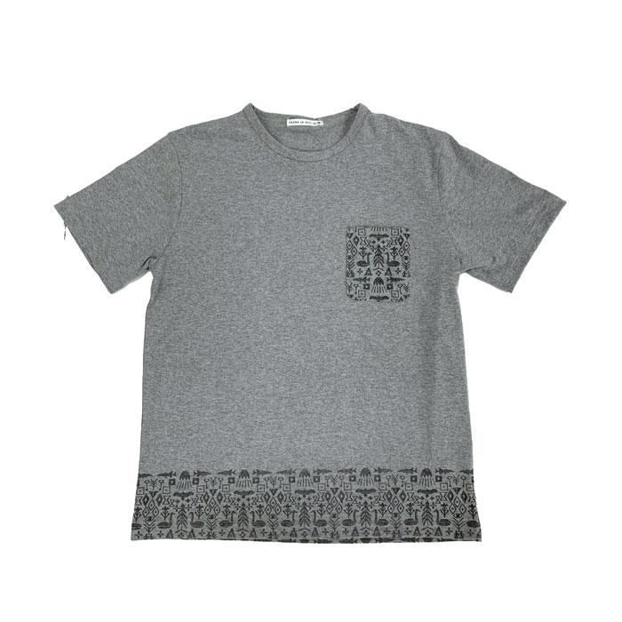 Saana ja Olli(サーナ ヤ オッリ) H (イータ)ルームウエア RECOVER天竺 裾プリント 半袖トップス (Tシャツ)